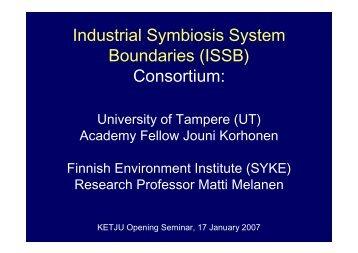 Industrial Symbiosis System Boundaries (ISSB) Consortium: