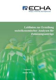 Leitlinien zur Erstellung sozioökonomischer ... - ECHA - Europa