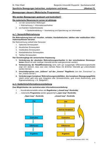 Motorische Programme - Fachbereich Sportwissenschaft der ...