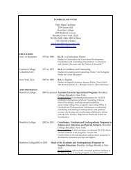 curriculum vitae - The School of Education Brooklyn College - CUNY