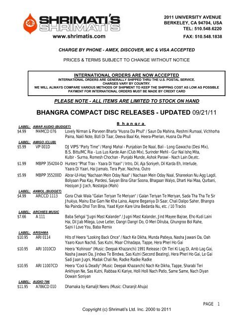 Bhangra Compact Disc Releases Shrimati S Asian Indian Music