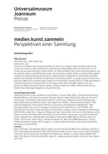 Universalmuseum Joanneum Presse medien.kunst.sammeln ...