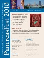 PancreasFest 2010 - Department of Medicine - University of Pittsburgh