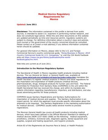 Medical Device Regulatory Requirements for Mexico - International ...
