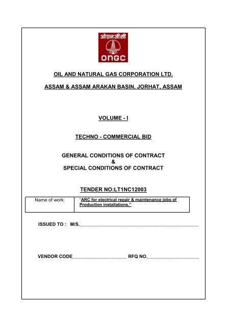 Oil And Natural Gas Corporation Ltd Ongc Tender