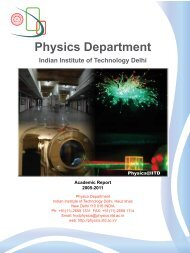 Physics Department Indian Institute of Technology Delhi