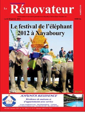 Le festival de l'éléphant 2012 à Xayaboury - Le Rénovateur