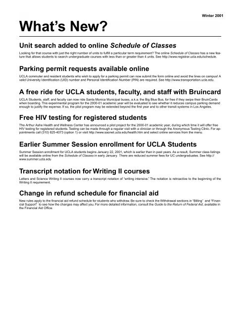 W - UCLA Registrar's Office Home