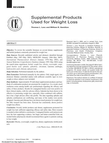 Supplemental Products Used for Weight Loss - Journal of American ...
