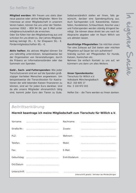 Liebes Team von Tier will (d) - Tierschutz Willich eV