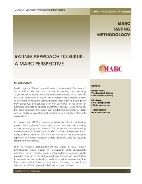 Rating Approach To Sukuk A Marc Perspective Malaysian Rating