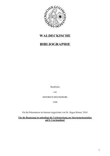 WALDECKISCHE BIBLIOGRAPHIE - Waldeckischer Geschichtsverein