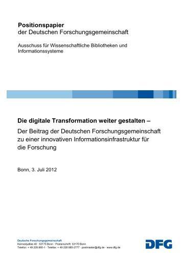 Die digitale Transformation weiter gestalten - DFG
