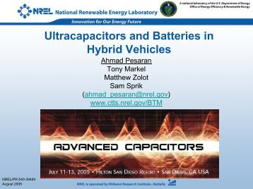Ultracapacitors and Batteries in Hybrid Vehicles - NREL
