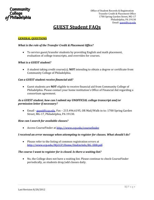Placement And Transfer Credit Office Faq Community College Of