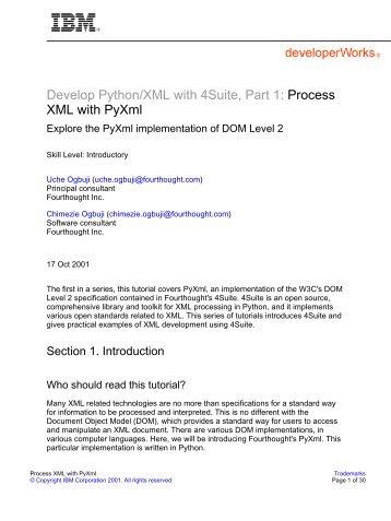 Develop Python/XML with 4Suite, Part 1: Process XML with ... - IBM