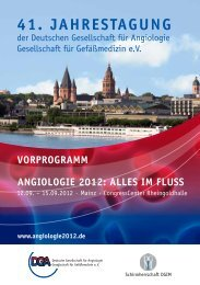 wissenschaFtliches Programm - Angiologie 2012