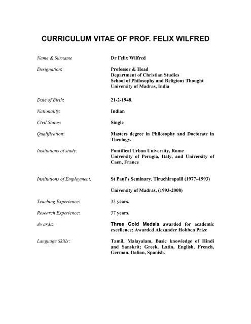 Curriculum Vitae Of Prof Felix Wilfred Asian Centre For Cross