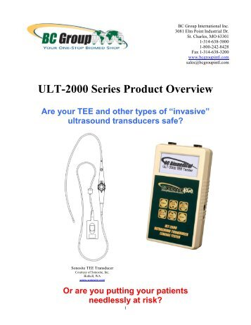 ULT-2000 Series Product Overview - BC Group International Inc.