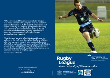 Rugby League at the University of Gloucestershire