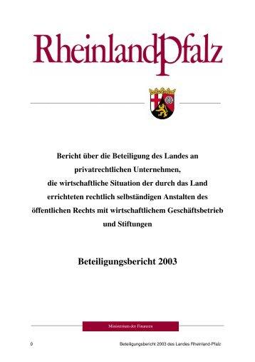 Beteiligungsbericht 2003 - Finanzministerium Rheinland-Pfalz
