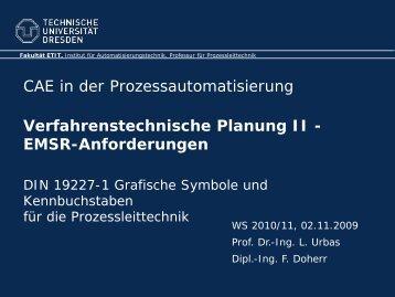 Verfahrenstechnische Planung II - EMSR-Anforderungen