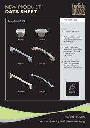 NEW PRODUCT DATA SHEET - Carlisle Design Group