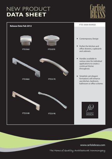 NEW PRODUCT DATA SHEET - Carlisle Design Group