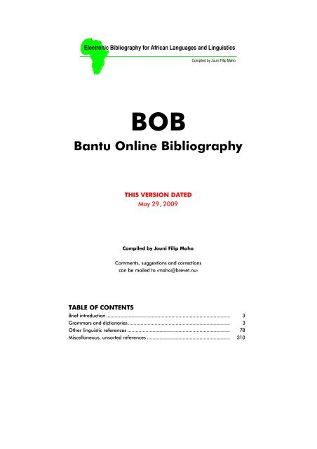 BOB) - Bantu Online Bibliography - Glocalnet