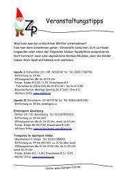Veranstaltungstipps Vera - Zwergen-Post