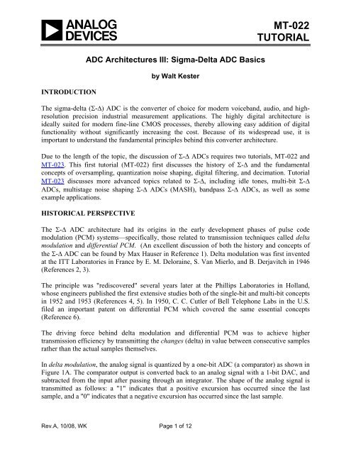 MT-022: ADC Architectures III, Sigma-Delta ADC     - Analog Devices