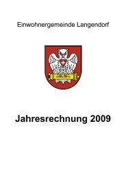Titelblatt Budget - Jahresrechnung 2009 - Langendorf