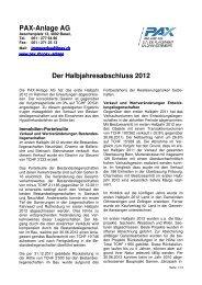 Der Halbjahresabschluss 2012 - Pax Schweizerische ...