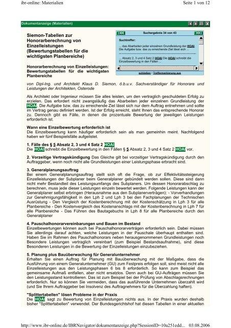 Siemon Tabellen Zur Honorarberechnung Von Einzelleistungen