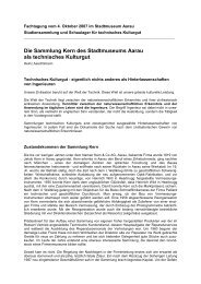 Die Sammlung Kern des Stadtmuseums Aarau als Technisches