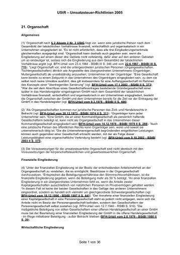 UStR – Umsatzsteuer-Richtlinien 2005 21 ... - Hochschulkurs