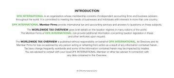DFK Worldwide Tax Overview 2012 (pdf) - DFK International