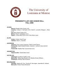 president's list and honor roll fall 2008 - University of Louisiana at ...