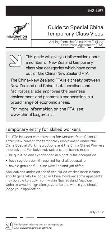 INZ 1157 - New Zealand Immigration Service