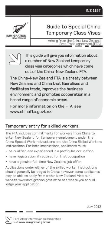 INZ 1157 - New Zealand Immigration Service