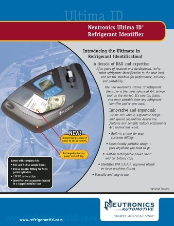 Neutronics Ultima IDTM Refrigerant Identifier - Refrigerant ID.net