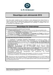 Steuertipps für Unternehmer - Pirklbauer
