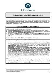 Steuertipps zum Jahresende 2009 - Pirklbauer