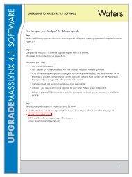 MassLynx 4.1 Software Upgrade