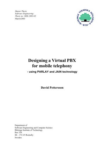 Designing a Virtual PBX for mobile telephony - CiteSeerX