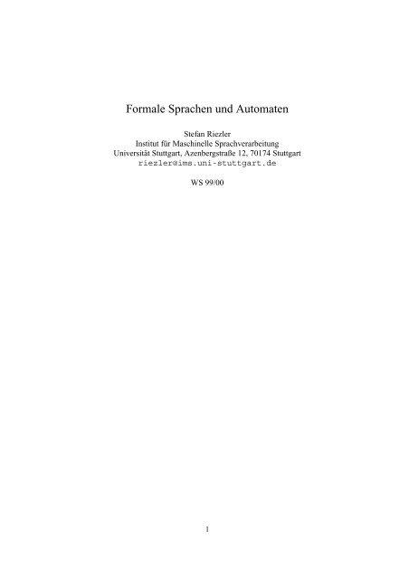 Formale Sprachen und Automaten - IMS - Universität Stuttgart