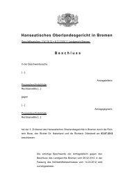 Beschluss - Hanseatisches Oberlandesgericht Bremen