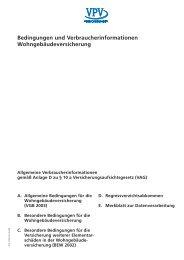 Bedingungen und Verbraucherinformationen ... - VPV Versicherungen