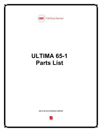Service Parts List ULTIMA 53 WITH ADVANCEt