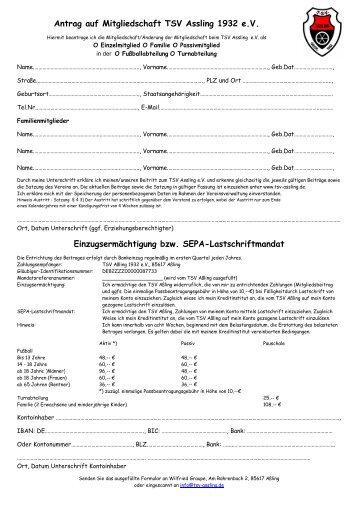 Antrag auf Mitgliedschaft TSV Assling 1932 e.V. ...